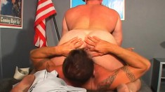 Two Wild Military Hunks Tasting And Pounding Each Other's Tight Asses