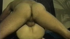 Sexy young football hunk gets pounded in the ass for the first time