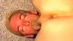 Kinky stud deepthroats a long stick before it explores his anal hole