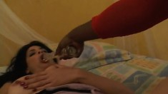 Busty brunette wife indulges in a lesbian affair with a black beauty