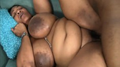 Phat Carri with huge tits blows and gets her bald cunt hammered