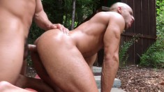 Two muscular buddies hang out in the hot tub for hot blowjobs and anal sex