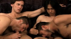 Wild gay friends explore their desire for bareback sex and fresh semen