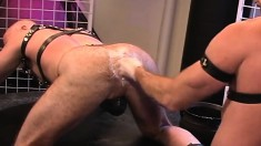 Bald headed gay stallion braces himself for an exciting anal fisting