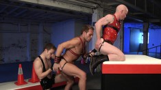 Three Ripped Jocks Kneel In A Row To Fuck Each Other's Asses With Their Fists And Dildos