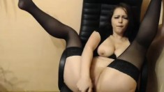 Double Penetration Babe Masturbates with Toys