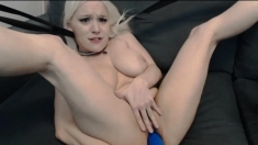 Psycho Blonde Destroying Her Pussy With A Massive Toy
