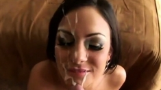 Sexy blow job Ioana take a huge load cum on her face