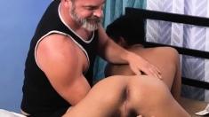 Silver Daddy Bareback Fucks And Exchange Student