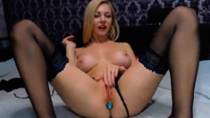 Blonde Babe Fucking Her Ass With Dildos